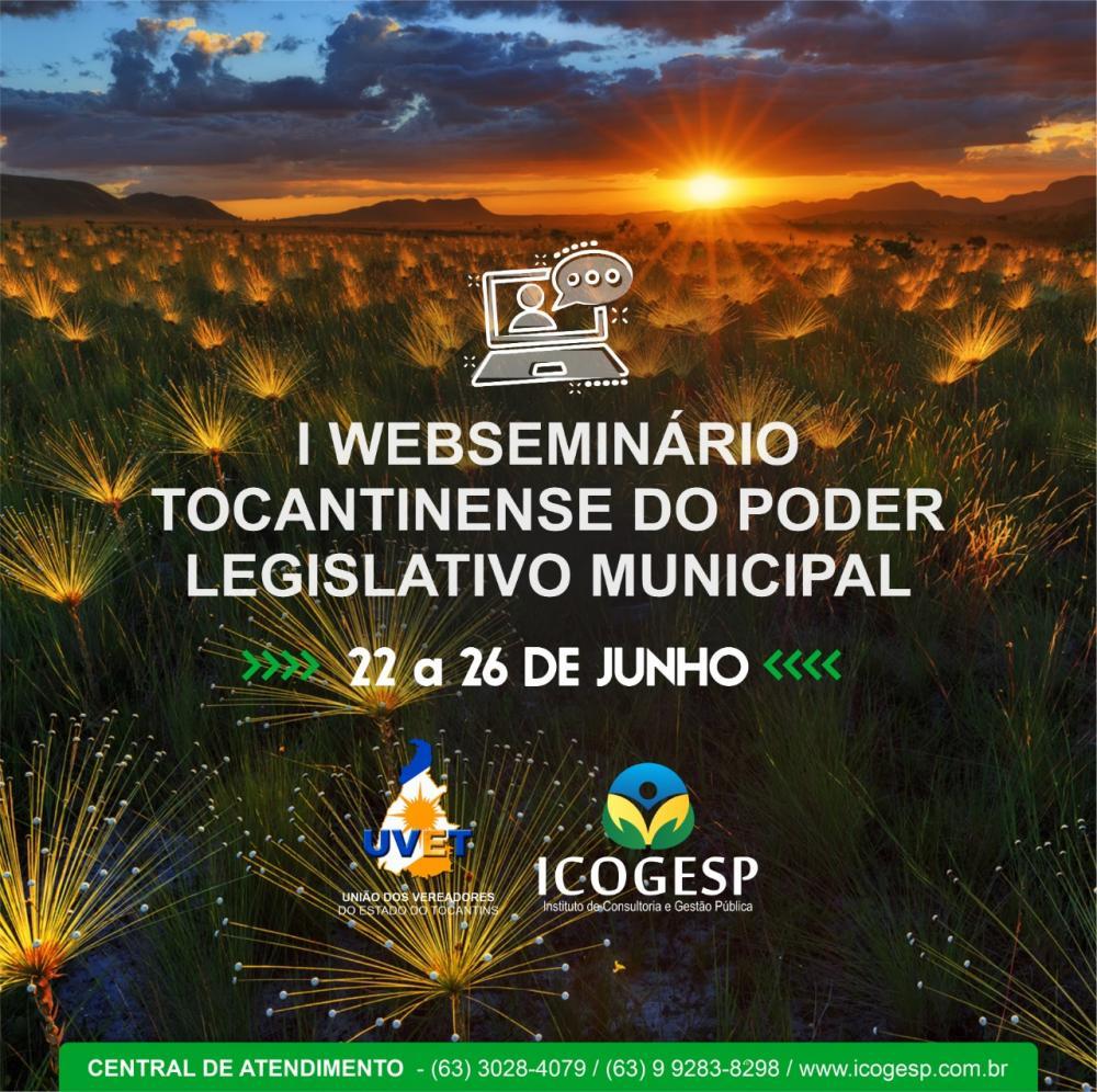 1º. WebSeminário Tocantinense do Poder Legislativo Municipal abre inscrições