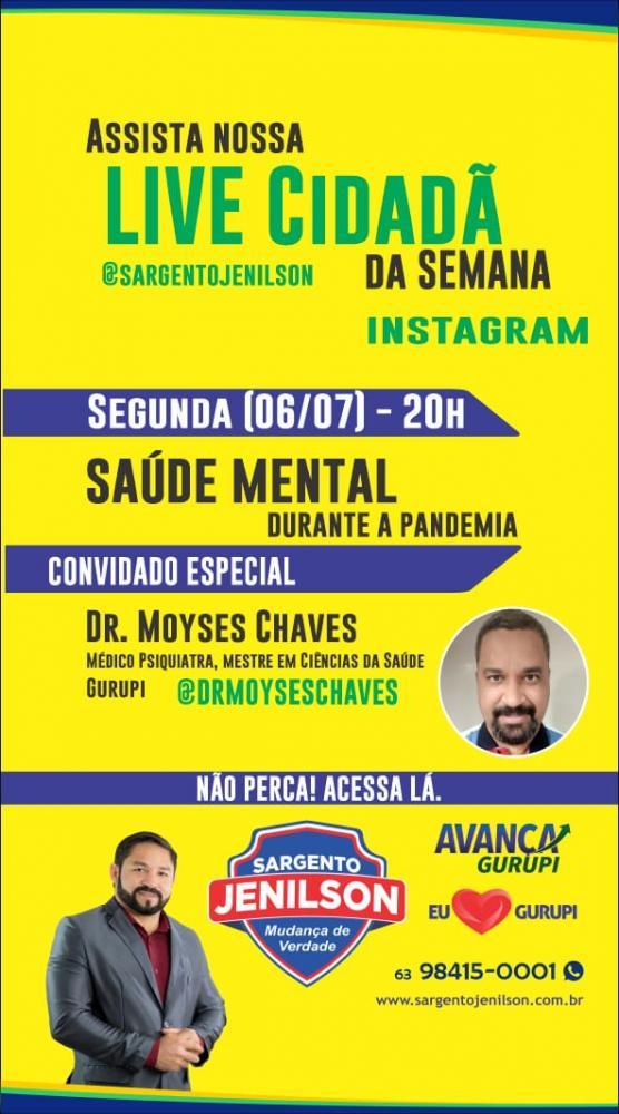 Dr. Moyses Chaves é o convidado da semana na Live Cidadã com o tema saúde mental no Instagram do Sargento Jenilson (PRTB)