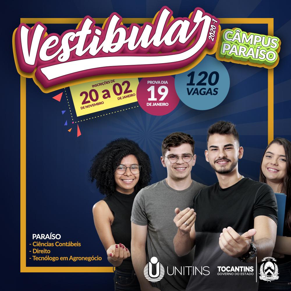 Último dia de inscrição ao Vestibular 2020/1 do Câmpus Paraíso da Unitins
