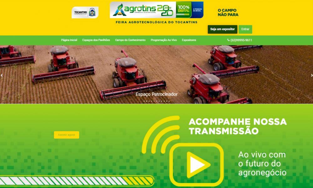 Interessados em adquirir produtos e assistir palestras ainda podem acessar plataforma da Agrotins 2020 100% Digital