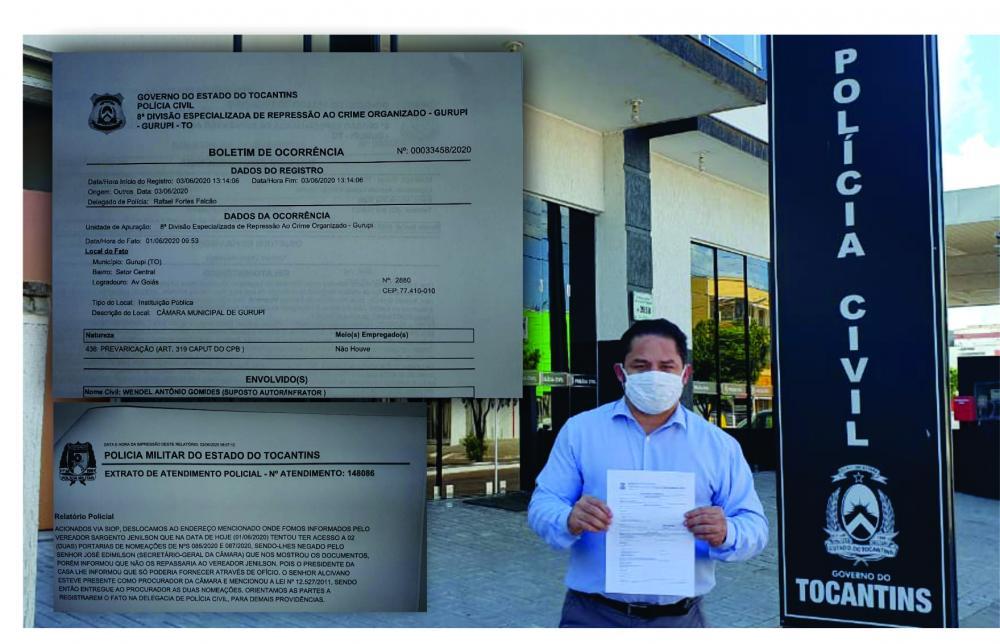Obstruções para ter acesso a documentos na Câmara de Gurupi foi parar na delegacia